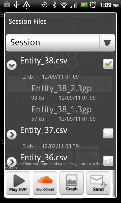 Captured EMF and EVP data from Entity Sensor Pro